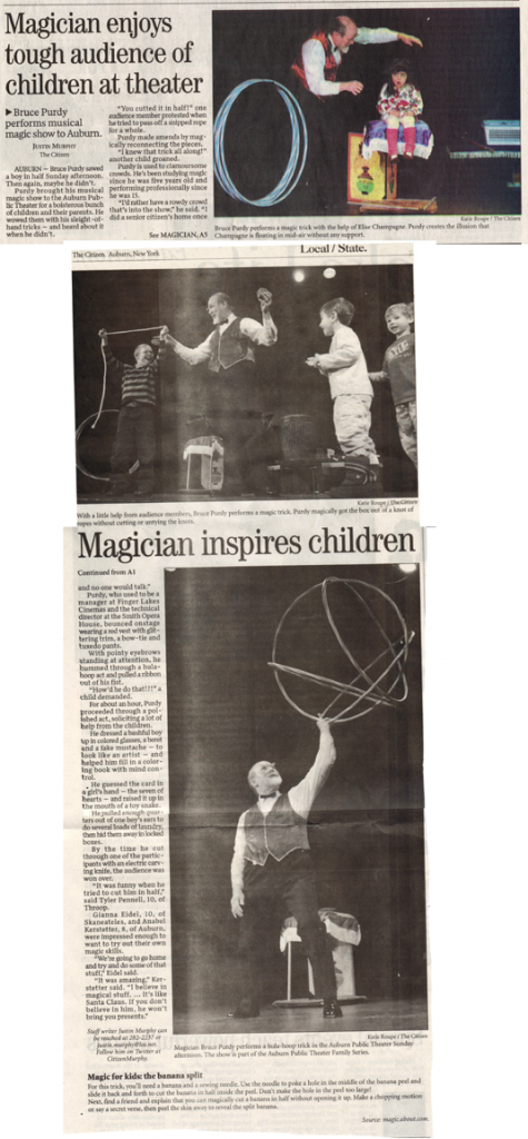 2010 Auburn Citizen review of performance by Magician Bruce Purdy