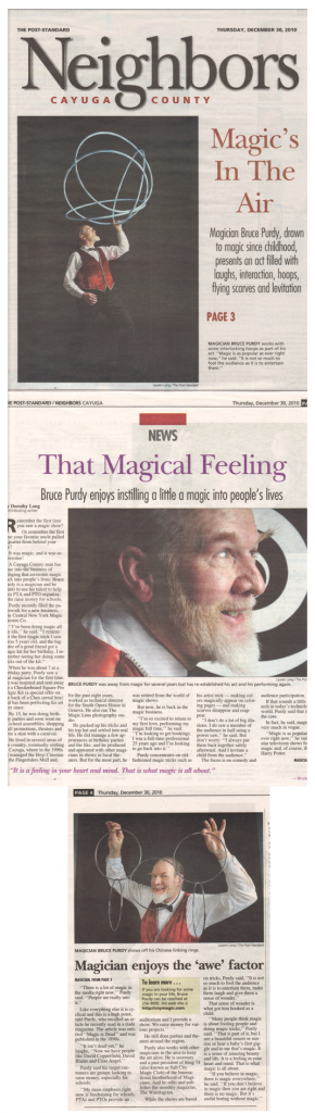 2010 Syracuse Post Standard profile of Magician Bruce Purdy